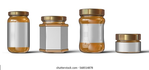 Pack of Glass jars with golden cap filled with yellow jam, confiture or honey. Packaging collection.