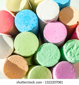 Pack of Jumbo Sidewalk Chalk, Assorted Colors on White Background. Top View