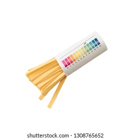 Pack of litmus test paper and color samples on white background. Universal indicator paper. Checking the ph.