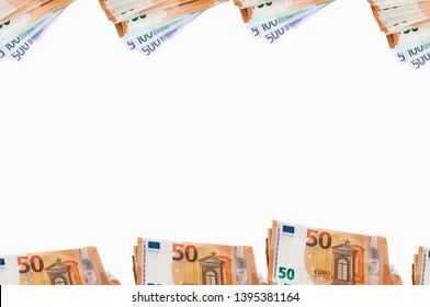 a pack of money Euro banknotes in fifty, one hundred and five hundred Euro top view