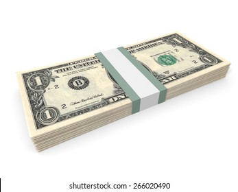 Pack of one dollar bank notes. 3D illustration.