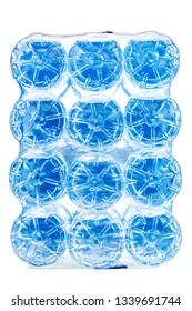 pack of twelve plastic bottles with water
