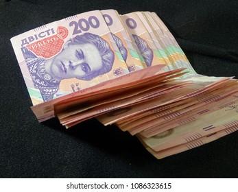 Pack of Ukrainian hryvnia (grivna). Money of Ukraine