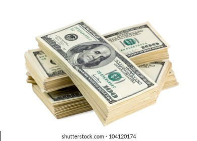 pack of us currencies on a white background