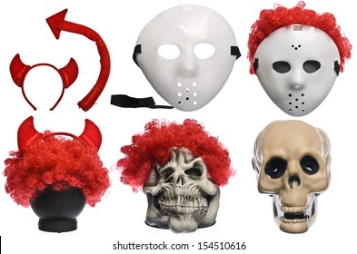 Pack of Various Halloween Costumes. Devil Girl, Jason Hockey Mask, Red Clown Wig, Ghost Mask and Skull on Isolated White Background