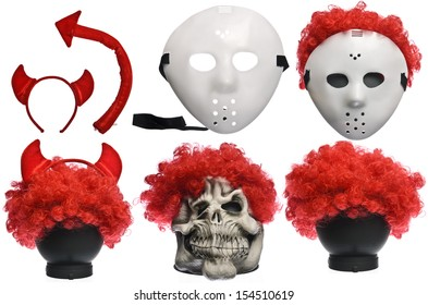 Pack of Various Halloween Costumes. Devil Girl, Jason Hockey Mask, Red Clown Wig and Ghost Mask on Isolated White Background