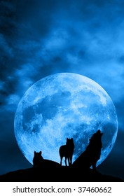pack of wolves in silhouette in front of a big full moon, one of them howling
