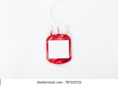 package with blood for transfusion with blank banner isolated on white background