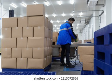 Package boxes from conveyor belt in warehouse or loading area.