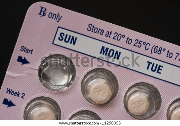 Package of daily prescription medicine in blister pack.