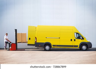 Package delivery, courier is loading the van with parcels.