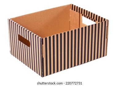 Package, delivery. One striped box on a white background