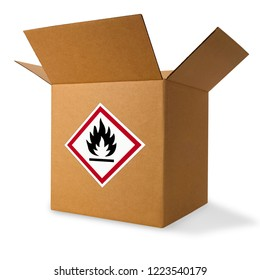 Package with flammable label on front