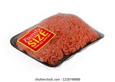 A package of ground meat wrapped in cellophane with a family size sticker.
