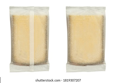 packaged cheese on white background