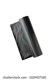 Packages for garbage on a white background. Roll of black plasti