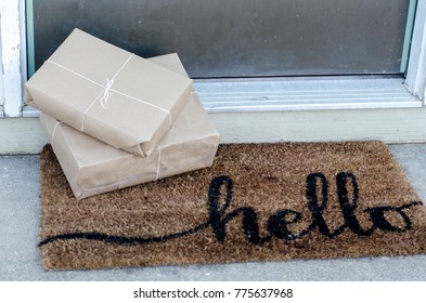 packages left on a door step