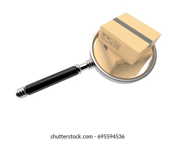 Packages with magnifying glass isolated on white background. 3d illustration