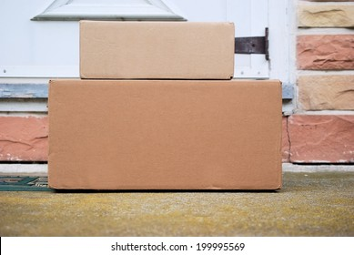 Packages on a front door step