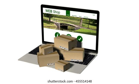 Packages on a laptop - Shipping and logistics concept - 3d rendering