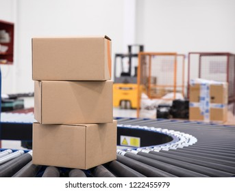 Packages and parcels delivery concept - cardboard box