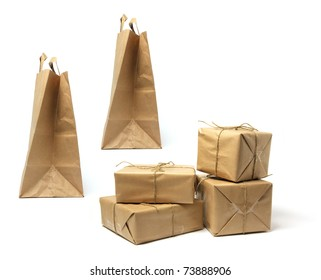 Packages and Shopping Bags on White Background