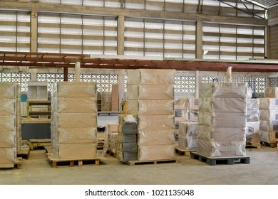 Packaging of furniture components awaiting to transportation in warehouse furniture