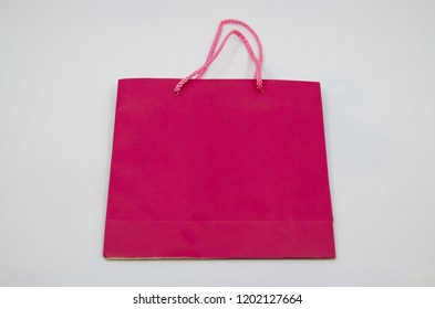 Packaging of Pink paper bag Hand bag Vintage bag Gift bag with rope handles