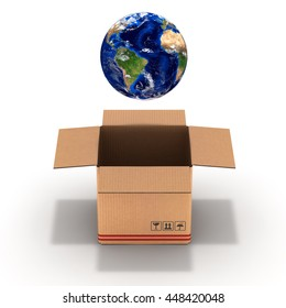 packaging planet Earth in a cardboard box 3d illustration
