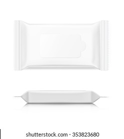 Packaging for wet wipes isolated on white background. Realistic vector illustration. Can be use for your design, promo, adv and etc.
