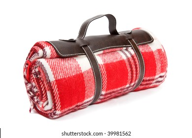 Packed blanket with handle, isolated on white