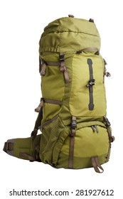 Packed camping backpack isolated on white background