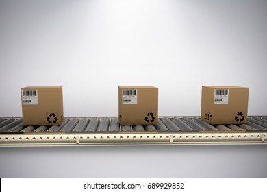 Packed courier on conveyor belt against grey background