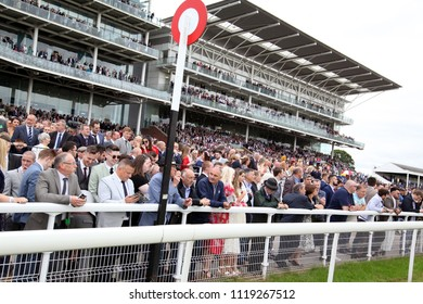 A packed crowd at the Winning Post in front of the Knavesmire Stand at York Races :  The Knavesmire, York Racecourse, Nth Yorkshire, UK : 16 June 2018 : Pic Mick Atkins