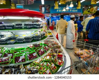 Packed fresh food vegetables stacked on shelf for sale at Safari hypermarket on 13 Jan 2019 at Qatar Doha