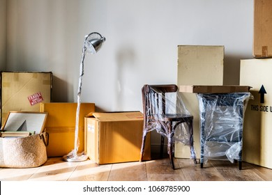 Packed furniture in the house
