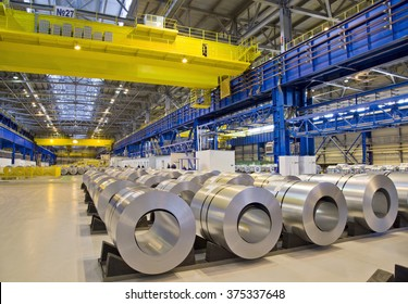 Packed rolls of galvanized steel in stock waiting for shipment