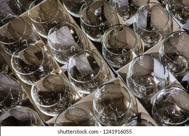 a lot of packed wine glasses ready to be delivered