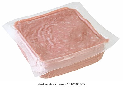Packet of mortadella slices. Clipping path.