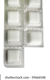 Packet of nicotine gum with piece missing isolated on white