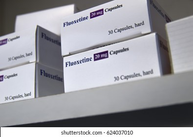 Packets of fluoxetine on shelf