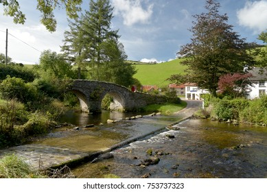 Packhorse bridge and ford at Malmsmead, Exmoor, North Devon