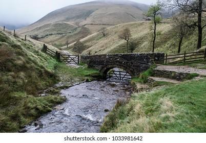 The Packhorse Bridge, Jacobs Ladder, Pennine Way, Edale, Derbyshire, England