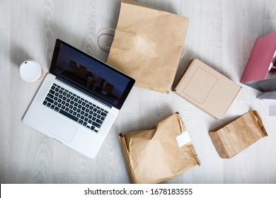 Packing accessories at workplace of startup small business owner, cardboard parcel box for online selling. entrepreneur,cardboard parcel box for online selling. shipping concept.