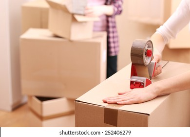Packing boxes close-up