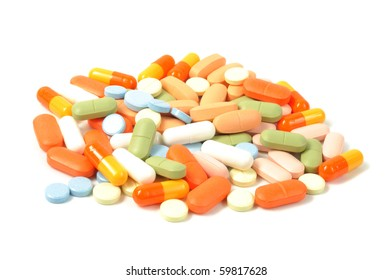 Packs of different pills - abstract medical background