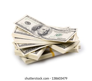packs of dollars isolated on a white background