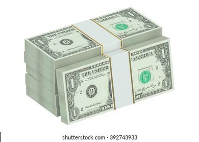 packs of dollars isolated on white background