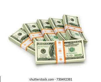 Packs of hundreds of dollars on a white background. 3D illustration