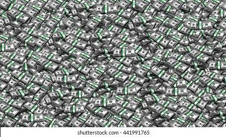 Packs of One Hundred Dollars  as  Background. Digital painting, illustration, collage of hundred USA dollar bills piled